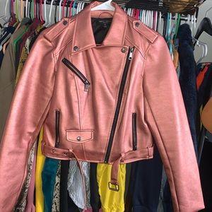 Rose Gold Pink Metallic Biker Jacket M